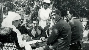 Patients at Morden Hall during its hospital days relaxing in the park